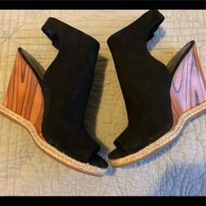 Tory Burch black suede wedges with wooden base